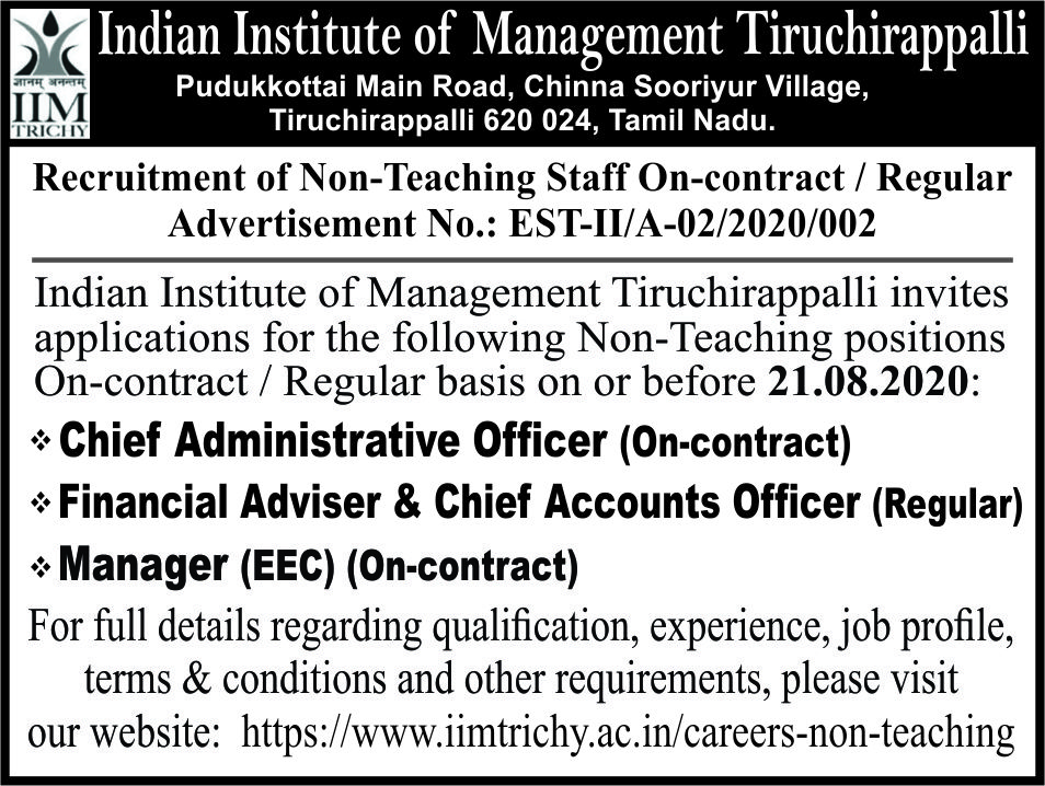 Recruitment of Non - Teaching Staff on Contract / Regular (No.EST-II/A-02/2020/002)