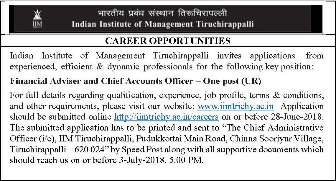 IIM TRICHY INVITES APPLICATION FOR FINANCIAL ADVISER AND CHIEF ACCOUNTS OFFICER