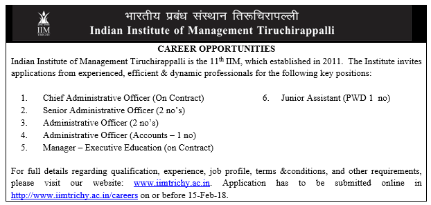 IIM TRICHY INVITES APPLICATIONS FOR VARIOUS NON-TEACHING POSITIONS.