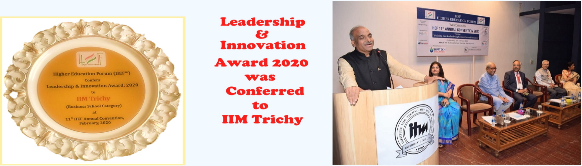 Leadership & Innovation Award 2020 was Conferred to IIM Trichy